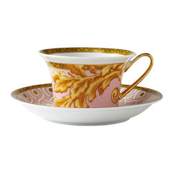 Versace - Byzantine Dreams Porcelain Cup and Saucer - The romantic Byzantine Dreams dinnerware collection from Versace is a feast for the eyes with its stunning combination of soft pinks and rich golds. This dramatic dinnerware epitomizes the style that is Versace and will make a striking fashion statement on any table.