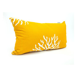 Majestic Home - Outdoor Yellow Coral Small Pillow - Complete your beach house decor, indoors or out, with this cool coral pillow. UV protection built into the fabric means it can take a weather beating and still look beautiful.