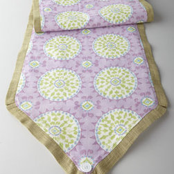 """French Laundry Home - French Laundry Home """"Pretty Purple"""" Mosaic Table Runner - Pretty and feminine, this table runner featuring a mosaic-medallion motif against a pastel purple background is framed with a tailored green border finished with a crisp white button at either end. It adds a pop of soft color to table settings. Made of..."""