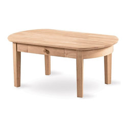 International Concepts - Phillips Oval Coffee Table - The soft shape of this Phillips oval wood coffee table make it a smart choice for a room where space is limited. The rounded edges make it ideal to put in a den, game room, or playroom. This table is made of wood with square tapered legs and a handy drawer for storage. It comes unfinished and ready to be stained or painted. One drawer. Square legs. Made from Para Wood. Unfinished table. Minimal assembly required. 24 in. W x 42 in. L x 18 in. H
