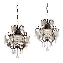 "The Gallery - CHANDELIERS WROUGHT IRON CRYSTAL CHANDELIER ISLAND PENDANT LIGHTING H14"" W11... - ***THIS LISTING IS FOR A SET OF 3***** 100% Crystal Wrought Iron Chandelier. A Great European Tradition. Nothing is quite as elegant as the fine crystal chandeliers that gave sparkle to brilliant evenings at palaces and manor houses across Europe. This beautiful chandelier from the Versailles Collection has 1 light and is decorated and draped with 100% crystal that capture and reflect the light of the candle bulb. The frame is Wrought Iron, adding the finishing touch to a wonderful fixture. The timeless elegance of this chandelier is sure to lend a special atmosphere anywhere its placed! Please note this item requires assembly. This item comes with 18 inches of chain. Lightbulbs not included.1 LIGHT PER ITEM.Size : H14"" W11"" ***THIS LISTING IS FOR A SET OF 2*****"