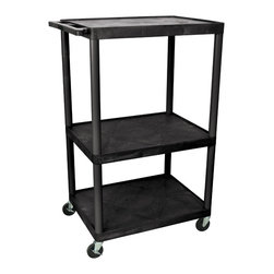 Luxor - Luxor Presentation Cart - LP54E-B - Luxor LP series presentation station AV carts are made of recycled high density polyethylene structural foam molded plastic shelves that will not scratch, dent, rust or stain.