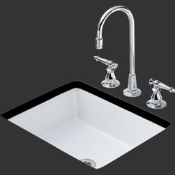KOHLER - KOHLER K-2330-N-7 Kathryn Undercounter Entertainment Sink in Black - KOHLER K-2330-N-7 Kathryn Undercounter Entertainment Sink in BlackBring a modern interpretation of retro styling to the kitchen or bar with the Kathryn undercounter entertainment sink. This rectangular sink is available in a palette of stylish KOHLER colors to complement any decor.KOHLER K-2330-N-7 Kathryn Undercounter Entertainment Sink in Black, Features:• Bring retro styling to the kitchen or bar with the Kathryn undercounter entertainment sink