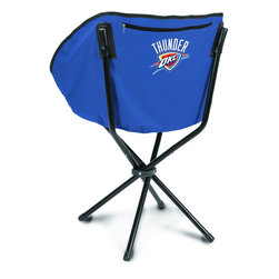"""Picnic Time - Oklahoma City Thunder Sling Chair in Navy - The Sling Chair by Picnic Time is a portable, folding chair you can take anywhere. The chair opens to 20"""" wide x 14"""" deep x 30"""" high. No loose parts It's so compact and convenient, you may just want to keep it in the trunk of your car!; Decoration: Digital Print; Includes: 1 nylon drawstring carry bag"""