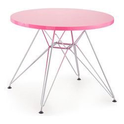 None - Wacky Pink Table - This wacky pink table features a modern design constructed of chrome steel. This table is complete with a fun pink table top.