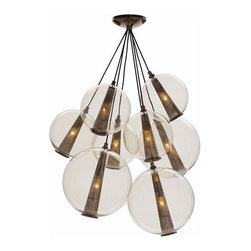 Arteriors Home - Arteriors Home Caviar Fixed Lg Brown Nickel/Smoke Glass Cluster - Arteriors Home - Drop this enchanting light from your ceiling and you'll think you've been blowing bubbles. Delicate glass spheres combine with threadlike polished nickel cords to give you an ethereal, romantic ambiance. This glass bouquet would look stunning in your foyer, dining room or living room. If you're very daring, hang one in your bath for an elegant, unusual design. You'll be forever blowing bubbles.