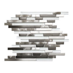 Eden Mosaic Tile - Modern Random Mix Steel - Glass II Pack (11 Sheets) - This ultra modern tile is comprised of various sizes of stainless steel and white glass tile. There are two types of brush patterns on the stainless steel the first being a straight snow matte linear brush pattern and the second being a circular brushed pattern. The different steel brush patterns appear to give the stainless steel a different color because of the way the light reflects off the tile when in fact both are a regular stainless steel color. The result is a visually stunning array of colors and textures which will surely make your wall pop. Use this steel and glass mixed mosaic on kitchen backsplashes bathroom walls fireplaces and even accent walls. The tiles in this sheet are mounted on a nylon mesh which allows for an easy installation. Imported.
