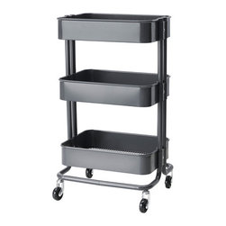 Råskog Kitchen Cart, Dark Gray - Multifunctional storage pieces like the Raskog cart from Ikea (a steal at $50!) can be so versatile in a kids' bedroom. I could see this used as a nightstand or as storage next to a desk, or it can be on the move too.