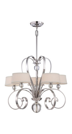 Quoizel - Quoizel UPMM5005IS Uptown Madison Manor Chandelier - Gentle curves and optic glass accents harmoniously tie in the symmetry of this beautiful collection. The imperial silver finish highlights the glass accents and the white linen shades, complete with diffusers, balance the overall design.
