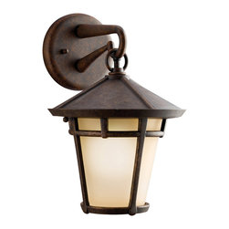 Kichler 1-Light Outdoor Fixture - Aged Bronze Exterior - One Light Outdoor Fixture Handsome and well suited for a range of home exterior styles. This 1 light coach fixture in the Melbern family with its aged bronze finish and light umber etched glass will provide a warm welcome to guests. 100 watt max. Diameter 9, height 13 . Extension 8. Height from center of wall opening 2 . Ul listed for wet location. U. S. Patent pending.
