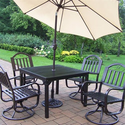 Oakland Living - 7-Pc Outdoor Swivel Dining Set - Includes square dining table, four swivel dining chairs, 9 ft. tilting umbrella and stand. Lightweight. Umbrella hole. Metal hardware. Fade, chip and crack resistant. Crisp and stylish traditional straight pattern. Warranty: one year limited. Made from durable tubular iron. Hammer tone bronze hardened powder coat finish. Minimal assembly required. Chair: 21.5 in. W x 23 in. D x 34 in. H (32 lbs.). Table: 40 in. L x 40 in. W x 29.5 in. H (58 lbs.)The Oakland Rochester Collection combines practical designs and modern style giving you a rich addition to any outdoor setting. Each piece is hand cast and finished for the highest quality possible.