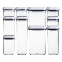 OXO® 10-Piece Pop Container Set - Customize smart storage for counter or cabinet space with this sleek new stackable system from OXO®. Ten airtight containers in mixed sizes and shapes strike a streamlined profile. The innovative pop-button mechanism creates an airtight seal and doubles as a handle (see additional photos).