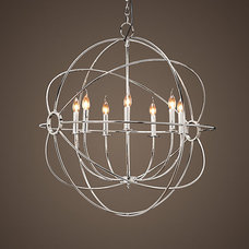 Foucault's Iron Orb Chandelier Polished Nickel Medium | Chandeliers | Restoratio
