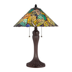 Quoizel - Quoizel TF1485TRS Payne Tiffany Table Lamp - Elegant Tiffany style is a timeless staple of home decor.  The various designs are handassembled using the copper foil technique developed by Louis Comfort Tiffany.  With an enormous variety of colors and patterns to choose from, Quoizel Tiffany�۪s have become more popular than ever.