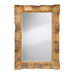 """Inviting Home - Hand-carved Wood Framed Mirror - Carved wood mirror with shell design gold decape finish and beveled glass 38""""W x 3""""D x 53""""H hand-crafted in Italy Hand-crafted carved wood mirror with shell design gold decape finish and beveled glass. This mirror can be hung horizontally or vertically. This mirror is hand-crafted in Italy."""