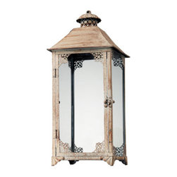 Sterling Industries - Sterling Industries 118-020 Hurricane Decor in Chauncey Distressed Cream - Vintage Lantern