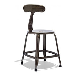 """Industry West - Samson Chair, Gunmetal - This stool is a classic interpretation of the mid-century French Tripostal stool. Our Samson Stool is crafted of grade A steel and hand finished with over 40 steps in the process. Often called the """"whale tail"""" stool (though we prefer to think of it as the """"E.T. stool""""), this piece has been in production since the mid 1930's but looks completely fresh, unexpected, and right-at-home today. Our stools will showcase beautiful hand-welded seams and each stool in the collection is unique."""