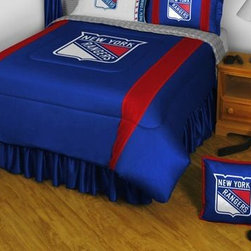 Sports Coverage - New York Rangers Bedding - NHL Sidelines Comforter and Sheet Set Combo - Queen - This is a great NHL New York Rangers Bedding Comforter and Sheet set combination! Buy this Microfiber Sheet set with the Comforter and save off our already discounted prices. Show your team spirit with this great looking officially licensed Comforter which comes in new design with sidelines. This comforter is made from 100% Polyester Jersey Mesh - just like what the players wear. The fill is 100% Polyester batting for warmth and comfort. Authentic team colors and logo screen printed in the center. Microfiber Sheet Set have an ultra-fine peach weave that is softer and more comfortable than cotton! This Micro Fiber Sheet Set includes one flat sheet, one fitted sheet and a pillow case. Its brushed silk-like embrace provides good insulation and warmth, yet is breathable. It is wrinkle-resistant, stain-resistant, washes beautifully, and dries quickly. The pillowcase only has a white-on-white print and the officially licensed team name and logo printed in team colors. Made from 92 gsm microfiber for extra stability and soothing texture. Sheet Sets are plain white in color with no team logo.   Includes:  -  Flat Sheet - Twin 66 x 96, Full 81 x 96, Queen 90 x 102.,    - Fitted Sheet - Twin 39 x 75, Full 54 x 75, Queen 60 X 80,    -  Pillow case Standard - 21 x 30,    - Comforter - Twin 66 x 86, Full/Queen 86 x 86,