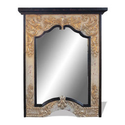 Provincial Mirror, Ebony Stain with Cream and Scrolls - Provincial Mirror, Ebony Stain with Cream and Scrolls