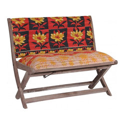 Modelli Creations - One Of A Kind Kantha Bench In Bright Big Flower - This bench is made of shesham wood and folds for easy stow away. Upholstered with beautiful kantha fabric this bench will add interest and color to any space
