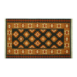 Area Rug, 5'X7' Forest Green 100% Wool Hand Woven Anatolian Kilim Rug SH6438 - Soumaks & Kilims are prominent Flat Woven Rugs.  Flat Woven Rugs are made by weaving wool onto a foundation of cotton warps on the loom.  The unique trait about these thin rugs is that they're reversible.  Pillows and Blankets can be made from Soumas & Kilims.