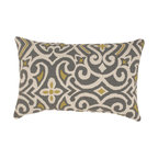 Pillow Perfect - Pillow Perfect Grey /Greenish-Yellow Damask Rectangular Throw Pillow - This rectangle throw pillow is a great addition to any home decor.it can be used on a couch for extra comfort or on a chair for added support. The pillow features a rich line pattern that will complement all seating arrangements that you pair it with.