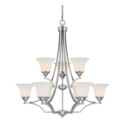 Capital Lighting - Capital Lighting Towne & Country Transitional 9-Light Chandelier X-411-NM9204 - Gorgeous geometry, sleek comfort, and luxurious appeal informs this contemporary town & country transitional 9-light chandelier. The soft white glass shade is romantic and refined for your bathroom, apartment, dining room, or basement. The matte nickel finish is made to last and is sure to please and get people talking. Share the majestic glow with friends and family.