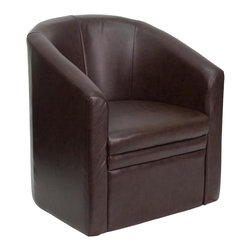 Flash Furniture - Hercules Full Upholstered Guest Chair in Brow - Thickly padded seat and back. Slant arms. Brown leather upholstery. Non marring floor glides. Barrel shaped design. Warranty: 2 years limited. Full front panel construction. Minimal assembly required. 27 in. W x 27 in. D x 30.25 in. H (39 lbs.)