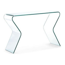 Modern glass console table Respite - Modern console Respite is made of single piece curved semi-tempered transparent glass. Adds air and light stylish touch to your interior.