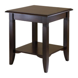 Winsome - Winsome Nolan End Table in Cappuccino Finish - Winsome - End Tables - 40220 - Clean, traditional lines make Nolan end table a great fit for any decor and home. The lower shelf gives more room to display and storage.
