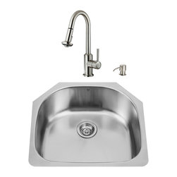 """VIGO Industries - VIGO All in One 24-inch Undermount Stainless Steel Kitchen Sink and Faucet Set - Revitalize the look of your kitchen with a VIGO All in One Kitchen Set featuring a 24"""" Undermount kitchen sink, faucet, soap dispenser, matching bottom grid, and sink strainer."""
