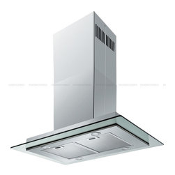 "Spagna Vetro - SPAGNA VETRO 36; SV198E-I36 Island-Mounted Stainless Steel Glass Range Hood - Mounting version - Island Mounted 860 CFM centrifugal blower Three-speed mechanical, soft-touch push button control panel Four 35W halogen lights (Type: GU-10) Aluminum multi-layers micro-cell dishwasher-friendly grease filter(s) Machine crafted stainless steel (brushed finish) 6"" round duct vent exhaust and back draft damper Convertible to duct-free operation (requires optional charcoal filter) Telescopic flue accommodates 8ft to 9ft ceilings (optional flue extension available for up to 12ft ceiling) Tempered Glass Canopy For residential use only, one-year limited factory warranty"