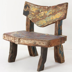 Reclaimed Boat Bench - Benches add an unexpected touch to any home, and this one is so unique and interesting. It is sure to be a conversation piece! It seats two, and is made from a 1900 Dutch fishing boat!
