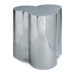 Kathy Kuo Home - Kazir Global Bazaar Polished Steel Clover Stool Side Table - An eclectic combination of Industrial and natural design, this blooming clover-shaped side table is a shimmering show of style. Polished steel is detailed with distressed edges for a weathered patina.