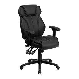 Flash Furniture - Flash Furniture High Back Leather Executive Office Chair in Black - Flash Furniture - Office Chairs - BT9835HGG - This ergonomically designed office chair offers plenty of adjustable features to get to your desired comfort level! The triple paddle control feature controls your seat height back tilt position and knee tilt. The most valuable feature of this chair is the controlled lumbar knob that allows you to increase and decrease the pressure provided to your back. The durable nylon base features rigid end caps that prevent feet from slipping. For your next office chair look no further than this extremely comfortable and stylish leather office chair!