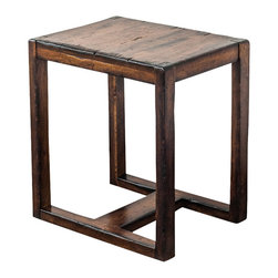 Uttermost - Uttermost Deni Wooden End Table - Deni Wooden End Table by Uttermost Light Honey Stain On Solid Mango Wood, Burnished With Darkened Edges And Heavy Distressing.