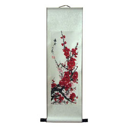 Oriental-Decor - Beijing Blossoms in December Chinese Scroll Painting - Another one of our fabulous Chinese cherry blossom scrolls, this beautifully painted piece will brighten up any dull wall. The pink blossoms are in full bloom during the winter season. Use this colorful Chinese scroll painting to add a vivid decorative effect to any room.