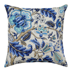 Land of Pillows - Waverly Sun N Shade Imperial Dress Azure Outdoor Floral Throw Pillow, 16x16 - Fabric Designer - Waverly