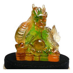 "Golden Lotus - Crystal Glass Liuli Pate-de-verre Dragon Figure Paperweight - Dimensions:   w3.25"" x d2.25"" x h3.5"""