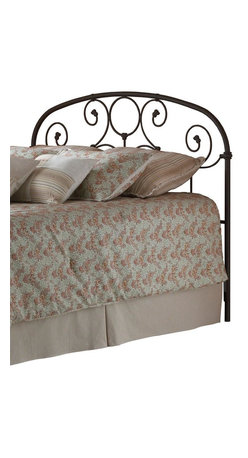 Leggett/Platt Fashion Bed - Curved Metal Headboard w Swirl Design & Rusty Gold Finish (Queen) - Choose Headboard Size: QueenAdd a charming air to your guest room or daughter's room with this elegant rusty gold finished headboard. This metal piece features graceful scrolls that meet spindles in an antique inspired design. Floral or feminine bedding adds the perfect finishing touch! In Rusty Gold. Made of metal. Twin: 39 3/4 in. W x 52 1/4 in. H. Full: 54 3/4 in. W x 52 1/4 in. H. Queen: 61 3/4 in. W x 52 1/4 in. H. King: 77 3/4 in. W x 52 1/4 in. H. Add universal bed frame (see accessories) to complete the bed!The prominent scrollwork on this headboard is secured in place with decorative banding. The solid castings give the headboard a playful character not found in most iron beds. The heavy tubing creating the overall shape of the headboard display softly rounded shoulders that give historic appeal. Another elevating feature to the headboard is the finish. It carries an intricacy that may not be noticed at first glance. When viewed up close the finish glows with an inner warmth that warrants the name Rusty Gold, and makes it a perfect match for a warm toned bedding ensemble.