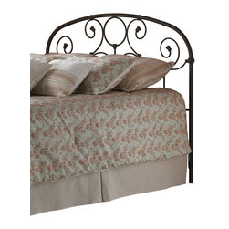 Leggett/Platt Fashion Bed - Curved Metal Headboard w Swirl Design & Rusty Gold Finish (King) - Choose Headboard Size: King. Add a charming air to your guest room or daughter's room with this elegant rusty gold finished headboard. This metal piece features graceful scrolls that meet spindles in an antique inspired design. Floral or feminine bedding adds the perfect finishing touch! In Rusty Gold. Made of metal. Twin: 39 3/4 in. W x 52 1/4 in. H. Full: 54 3/4 in. W x 52 1/4 in. H. Queen: 61 3/4 in. W x 52 1/4 in. H. King: 77 3/4 in. W x 52 1/4 in. H. Add universal bed frame (see accessories) to complete the bed!The prominent scrollwork on this headboard is secured in place with decorative banding. The solid castings give the headboard a playful character not found in most iron beds. The heavy tubing creating the overall shape of the headboard display softly rounded shoulders that give historic appeal. Another elevating feature to the headboard is the finish. It carries an intricacy that may not be noticed at first glance. When viewed up close the finish glows with an inner warmth that warrants the name Rusty Gold, and makes it a perfect match for a warm toned bedding ensemble.