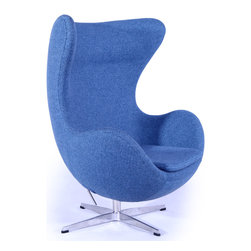 Kardiel Egg Chair, Azure Houndstooth Twill - This premium Egg chair reproduction is a sculptural masterpiece. The original design was created by Arne Jacobsen in 1958, and versions of it sell today for upwards of $5,000. You can have this beautiful reproduction in your home at a fraction and the best part is no one will know the difference. Its creation is taken from respect of the dimensions, the angles, the pitch and curve wrap of the original mid century classic design. Arne Jacobsen's attention to these details is what made the original Egg Chair an iconic classic. Originally built for the Radisson Hotel in Copenhagen the Egg Chair was typical of Arne Jacobsen's style and it quickly became a Mid Century Classic. Jacobsen was known for using unique materials in his pieces and was not afraid to take risks with the shape. It has been suggested that the Egg Chair design was actually inspired by Eero Saarinen's Womb Chair. Regardless, in many respects the Egg is a more complete design. An admired trait of the chair is the relatively thin oval body design. Its gracious curves comfortably surround the sitter. The high wing back makes it an excellent chair for curling up in with a good book. The egg chair is the essence of form and function. The Egg has appeared in movies, mags and TV since its birth in 1958. Among some of the more famous celebrities to be seen in Egg Chairs in photo shoots are Marilyn Monroe, Brigitte Bardot on cover of Vogue in the 1960s, and more recently Michelle Pfiefer on the cover of Esquire Magazine.