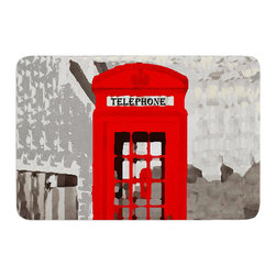 """KESS InHouse - Oriana Cordero """"London"""" Red Gray Memory Foam Bath Mat (24"""" x 36"""") - These super absorbent bath mats will add comfort and style to your bathroom. These memory foam mats will feel like you are in a spa every time you step out of the shower. Available in two sizes, 17"""" x 24"""" and 24"""" x 36"""", with a .5"""" thickness and non skid backing, these will fit every style of bathroom. Add comfort like never before in front of your vanity, sink, bathtub, shower or even laundry room. Machine wash cold, gentle cycle, tumble dry low or lay flat to dry. Printed on single side."""