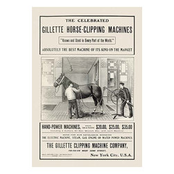 "Buyenlarge.com, Inc. - The Celebrated Gillette Horse-Clipping Machines- Paper Poster 20"" x 30"" - Another high quality vintage art reproduction by Buyenlarge. One of many rare and wonderful images brought forward in time. I hope they bring you pleasure each and every time you look at them."