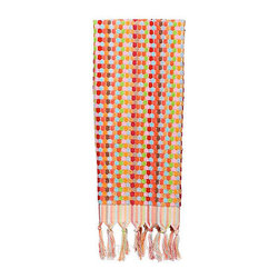 Turkish Hand Towel, Candy Dot Pink - Luxurious 100% yarn dyed Turkish cotton towels from Michele Keeler Home, individually loomed to perfection and finished with hand-tied fringes.
