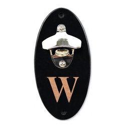Home Decorators Collection - Monogram Wall-Mounted Bottle Opener - The oval wood plaque of our Monogram Wall-Mounted Bottle Opener is finished in black lacquer, offering elegant contrast to the silver sheen of its zinc alloy bottle opener. For no additional charge, a block letter can be engraved through the black lacquer, revealing the wood grain beneath. This piece offers functional sophistication for your bar area or game room. Never hunt for a way to get into your bottled drinks again; this wall mount bottle opener is always there when you need it. Made of wood. Sturdy zinc alloy bottle opener. Personalize with a single block monogram. Includes black wall mounting screws.