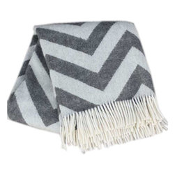 Happy Blanket - 100% New Zealand Lambswool CHEVRON, Grey - Wool is a natural temperature regulator, naturally hypoallergenic, naturally breathable and even improves sleep quality.