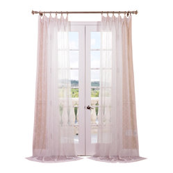 Exclusive Fabrics & Furnishings, LLC - Vita Off-White Embroidered Sheer Curtain - This diaphanous off-white curtain boasts elegant embroidery, bringing an upscale touch to your living, dining or bedroom. A dreamy sheer weave means natural light is perfectly diffused for just the right amount of sunshine.