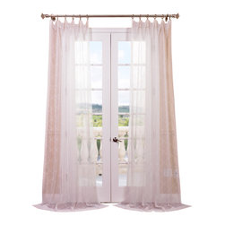 """Exclusive Fabrics & Furnishings, LLC - Vita Off White Embroidered Sheer Curtain - 100% Polyester. 3"""" Pole Pocket. Imported. Dry Clean Only."""