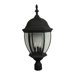 Exteriors - Exteriors Cast Aluminum Bent Glass Outdoor Post Lantern Light X-50-585Z - Multiple candelabra lights ensure that this Craftmade outdoor post lantern light will provide just the right amount of outdoor security lighting needed for your home. A Matte Black finish has been used to accentuate the traditional details, such as the classic lantern shape and charming finial.